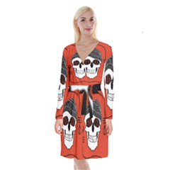 Poster Twenty One Pilots Skull Long Sleeve Velvet Front Wrap Dress