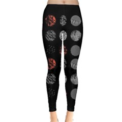 Digital Art Dark Pattern Abstract Orange Black White Twenty One Pilots Leggings