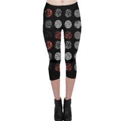 Digital Art Dark Pattern Abstract Orange Black White Twenty One Pilots Capri Leggings