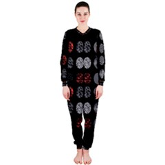 Digital Art Dark Pattern Abstract Orange Black White Twenty One Pilots OnePiece Jumpsuit (Ladies)