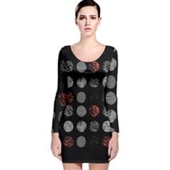 Digital Art Dark Pattern Abstract Orange Black White Twenty One Pilots Long Sleeve Velvet Bodycon Dress