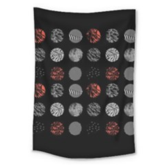 Digital Art Dark Pattern Abstract Orange Black White Twenty One Pilots Large Tapestry