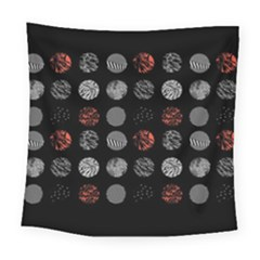 Digital Art Dark Pattern Abstract Orange Black White Twenty One Pilots Square Tapestry (Large)
