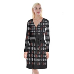Digital Art Dark Pattern Abstract Orange Black White Twenty One Pilots Long Sleeve Velvet Front Wrap Dress