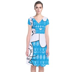 Easter bunny  Short Sleeve Front Wrap Dress