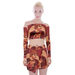 Ed Sheeran Illustrated Tour Poster Off Shoulder Top with Skirt Set