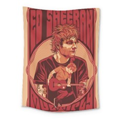 Ed Sheeran Illustrated Tour Poster Medium Tapestry