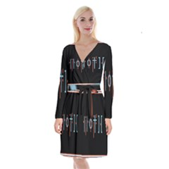 Twenty One Pilots Event Poster Long Sleeve Velvet Front Wrap Dress
