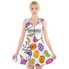 Easter bunny  V-Neck Sleeveless Skater Dress