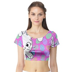 Easter bunny  Short Sleeve Crop Top (Tight Fit)