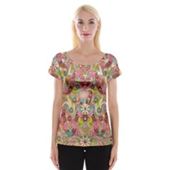 Jungle Life And Paradise Apples Women s Cap Sleeve Top