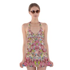 Jungle Life And Paradise Apples Halter Swimsuit Dress