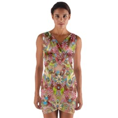 Jungle Life And Paradise Apples Wrap Front Bodycon Dress