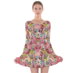 Jungle Life And Paradise Apples Long Sleeve Velvet Skater Dress