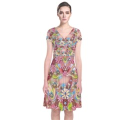 Jungle Life And Paradise Apples Short Sleeve Front Wrap Dress