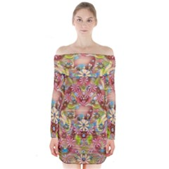 Jungle Life And Paradise Apples Long Sleeve Off Shoulder Dress