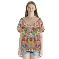 Jungle Life And Paradise Apples Flutter Sleeve Top