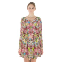 Jungle Life And Paradise Apples Long Sleeve Velvet V-neck Dress