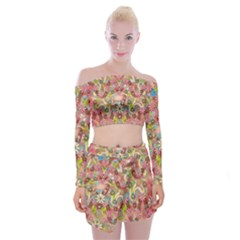 Jungle Life And Paradise Apples Off Shoulder Top With Skirt Set