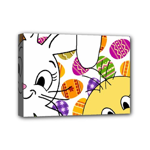 Easter bunny and chick  Mini Canvas 7  x 5