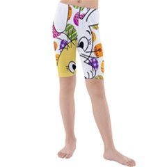 Easter bunny and chick  Kids  Mid Length Swim Shorts