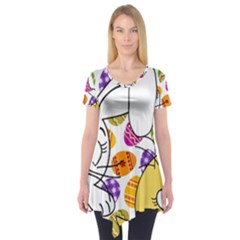 Easter bunny and chick  Short Sleeve Tunic