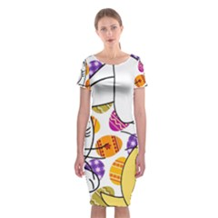 Easter bunny and chick  Classic Short Sleeve Midi Dress