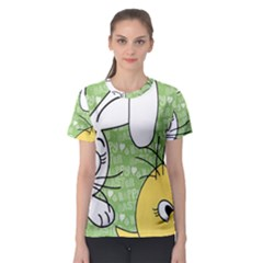 Easter bunny and chick  Women s Sport Mesh Tee