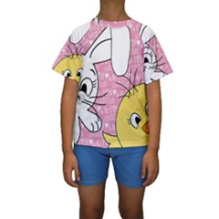 Easter bunny and chick  Kids  Short Sleeve Swimwear