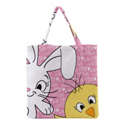 Easter bunny and chick  Grocery Tote Bag