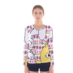 Easter bunny and chick  Women s Long Sleeve Tee