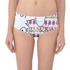 Easter bunny and chick  Mid-Waist Bikini Bottoms