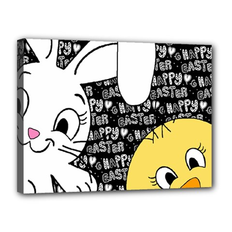 Easter bunny and chick  Canvas 16  x 12