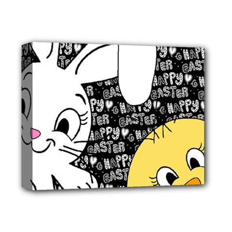 Easter bunny and chick  Deluxe Canvas 14  x 11