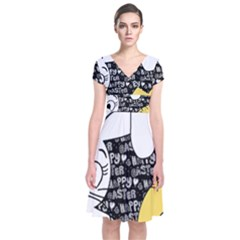 Easter bunny and chick  Short Sleeve Front Wrap Dress