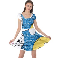 Easter bunny and chick  Cap Sleeve Dresses