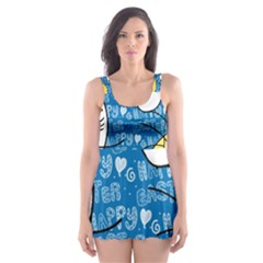 Easter bunny and chick  Skater Dress Swimsuit