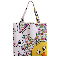 Easter bunny and chick  Zipper Grocery Tote Bag