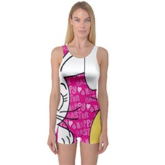 Easter bunny and chick  One Piece Boyleg Swimsuit