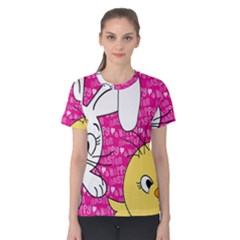 Easter bunny and chick  Women s Cotton Tee