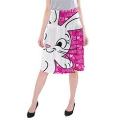 Easter bunny and chick  Midi Beach Skirt
