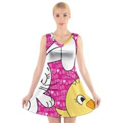 Easter bunny and chick  V-Neck Sleeveless Skater Dress