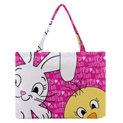 Easter bunny and chick  Medium Zipper Tote Bag