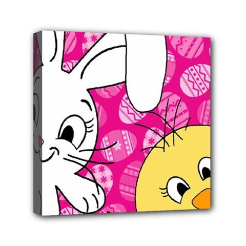 Easter bunny and chick  Mini Canvas 6  x 6