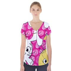 Easter bunny and chick  Short Sleeve Front Detail Top