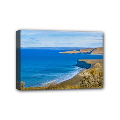 Seascape View From Punta Del Marquez Viewpoint, Chubut, Argentina Mini Canvas 6  x 4