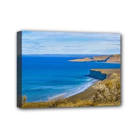 Seascape View From Punta Del Marquez Viewpoint, Chubut, Argentina Mini Canvas 7  x 5