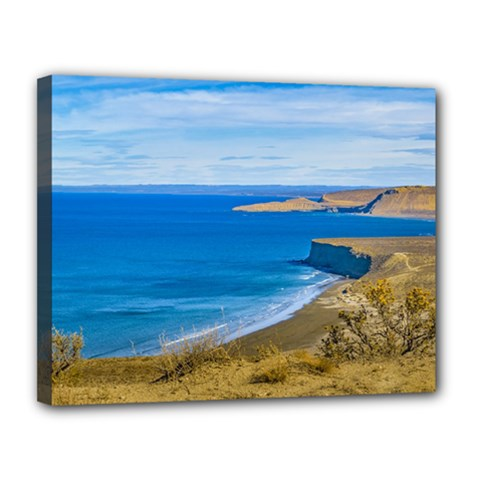 Seascape View From Punta Del Marquez Viewpoint, Chubut, Argentina Canvas 14  x 11