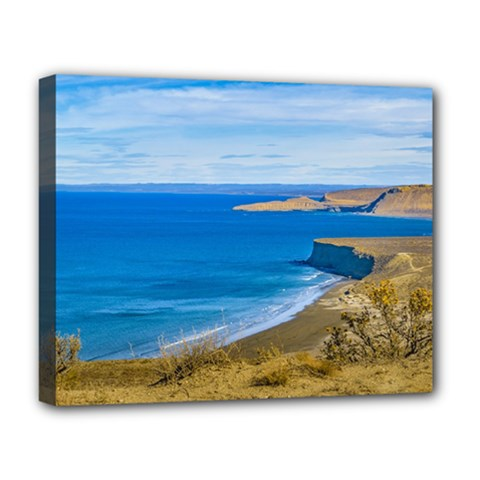 Seascape View From Punta Del Marquez Viewpoint, Chubut, Argentina Deluxe Canvas 20  x 16