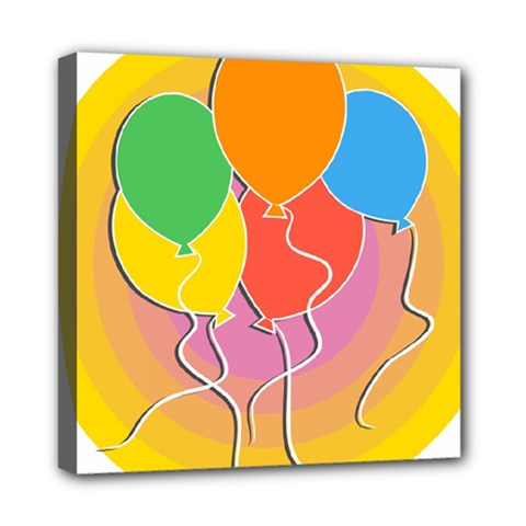 Birthday Party Balloons Colourful Cartoon Illustration Of A Bunch Of Party Balloon Mini Canvas 8  x 8